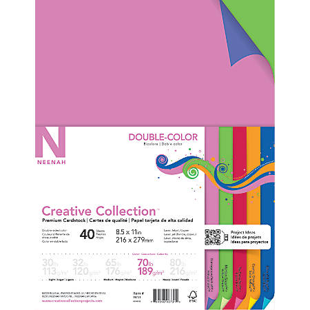 """Neenah® Creative Collection™ Double-Color Textured Card Stock, 8 1/2"""" x 11"""", 70 lb, Assorted Colors, Pack Of 40"""