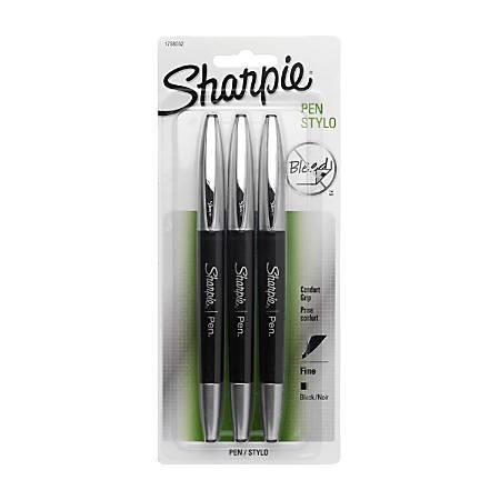 Sharpie® Soft-Grip Pens, Fine Point, 0.8 mm, Black Barrel, Black Ink, Pack Of 3