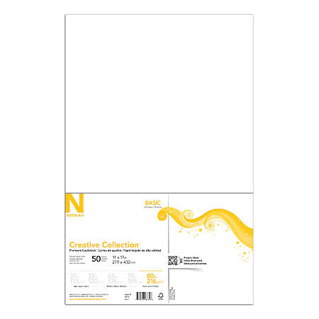 "Neenah® Creative Collection™ Paper, 80 Lb, 11"" x 17"", FSC® Certified, Solar White, Pack Of 50 Sheets"