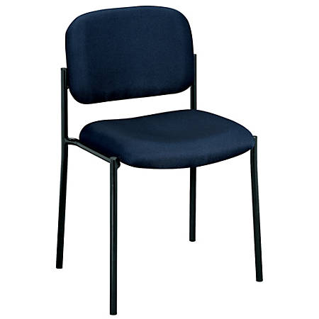basyx by HON® Fabric Stacking Guest Chair With Leg Base, Black/Navy Blue