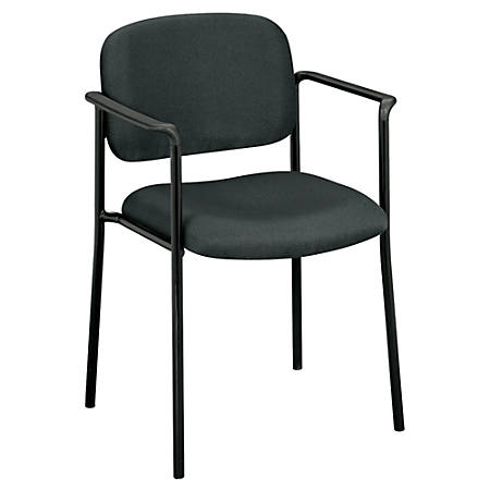 HON Scatter Stacking Guest Chair, Fixed Arms, Fabric, Charcoal/Black