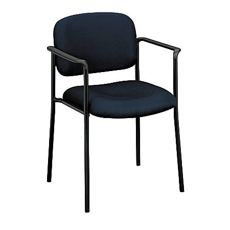 """basyx by HON® Stacking Guest Chair With Arms, 32 3/4""""H x 23 1/4""""W x 21""""D, Black Frame, Navy Blue Fabric"""