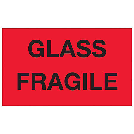 "Tape Logic® Preprinted Special Handling Labels, DL1201, Glass Fragile, Rectangle, 3"" x 5"", Fluorescent Red, Roll Of 500"