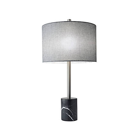 "Adesso® Blythe Table Lamp, 28""H, Gray Shade/Black Base"