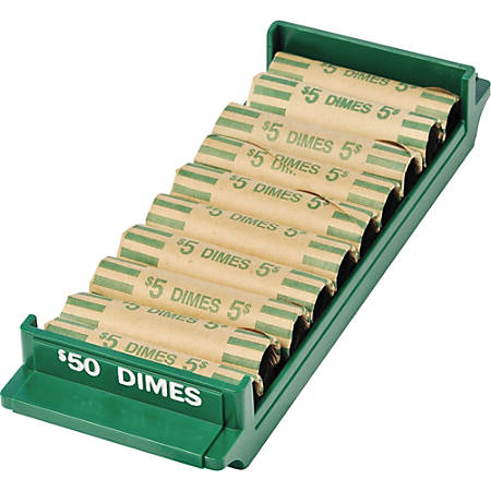 MMF Industries™ Porta-Count® System Coin Trays, Dimes-$50.00, Green