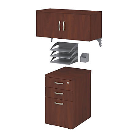 Bush Business Furniture Office In An Hour Storage & Accessory Kit, Hansen Cherry Finish, Premium Delivery