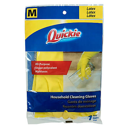 Quickie Lined Latex Gloves, Medium, Yellow