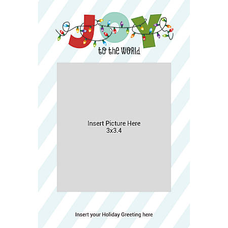 Flat Photo Greeting Card, Joy With Lights And Stripes, Vertical