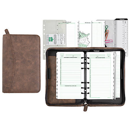"""Day-Timer® Distressed Simulated Leather Planner Organizer Set, 3 3/4"""" x 6 3/4"""", Brown, Undated-Untimed"""
