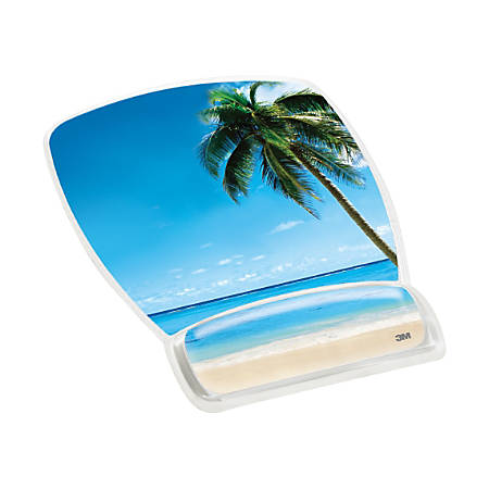 3M™ Precise™ Micro-Texture Mousing Surface With Gel Wrist Rest, Beach Theme