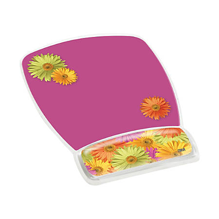 3M™ Precise™ Micro-Texture Mousing Surface With Gel Wrist Rest, Daisy Design