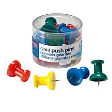 OIC Giant Pushpins Assorted Colors Pack