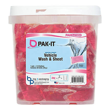 Big 3 Packaging PAK-IT Vehicle Wash And Sheet Cleaner, Pink, Pack Of 50