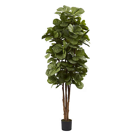 Nearly Natural 6'H Polyester Fiddle Leaf Fig Tree With Pot, Green