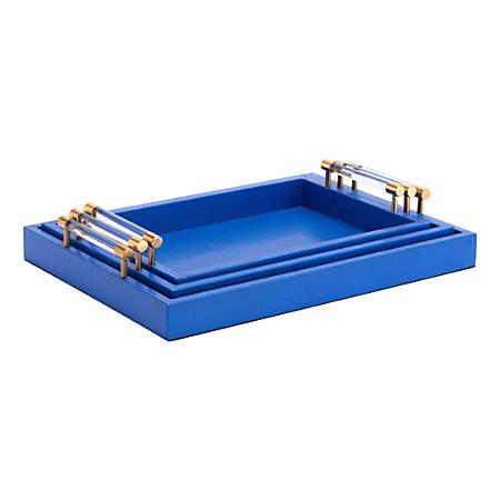Zuo Modern Gela Trays, Blue, Set Of 3 Trays