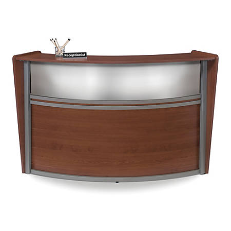 OFM Single-Marque Reception Station, With Plexi, Cherry