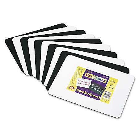 """Chenille Kraft Combo Dry-Erase/Chalk Boards, 12"""" x 9"""", Black/White, Pack Of 10"""