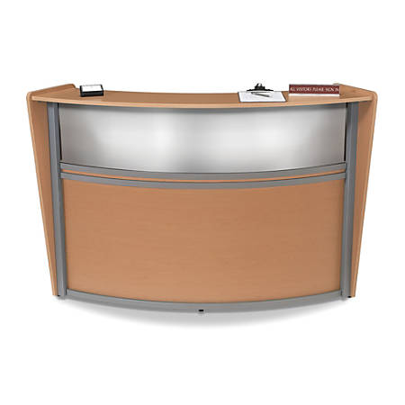 OFM Single-Marque Reception Station, With Plexi, Maple