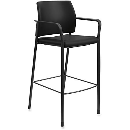 "HON Accommodate Cafe Stool, Fixed Arms - Vinyl Black Seat - Vinyl Black Back - Steel Textured Black Frame - Four-legged Base - 23.3"" Width x 21.3"" Depth x 31.3"" Height"
