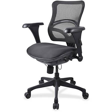 Lorell® Contour Mesh Mid-Back Fabric Seat Chair, Black
