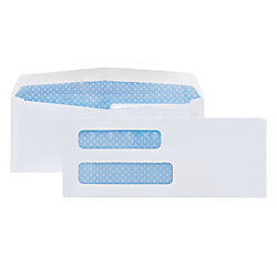 Office Max #8-5/8 Double Window Business Envelopes, 24 lb White Wove, 500 / box