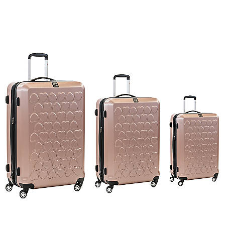 ful Hearts 3-Piece ABS Rolling Suitcase Set, Gold