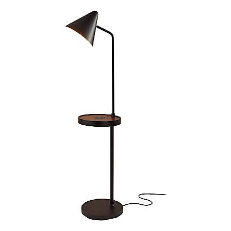 Adesso Oliver Wireless Charging Floor Lamp With Task Shelf