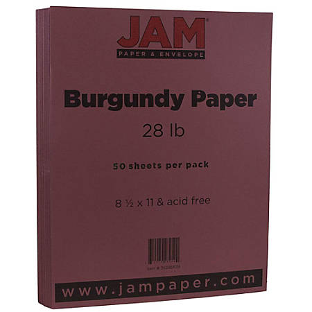 "JAM Paper® Printer Paper, Letter Size (8 1/2"" x 11""), 28 Lb, Burgundy, Ream Of 50 Sheets"