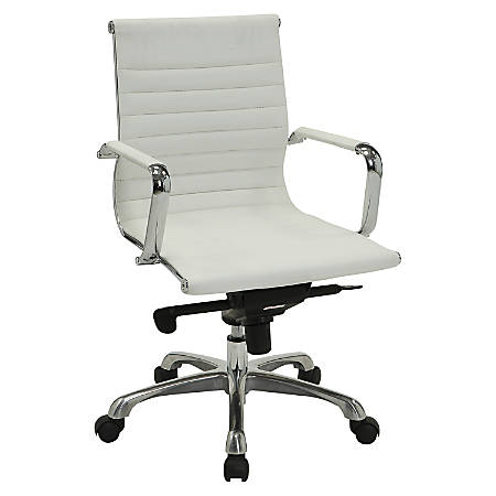 Lorell® Modern Series Mid-Back Bonded Leather Chair, White