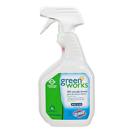 Green Works Natural Glass/Surface Cleaner, 32 Oz, Carton of 12