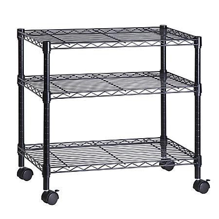 "Honey-Can-Do Steel Wire Cart, 3 Tier, 26""H x 28""W x 16""D, Black"