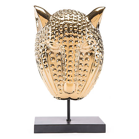 "Zuo Modern Tiger Mask Sculpture, 17 15/16""H x 8 5/16""W x 9 13/16""D, Gold"