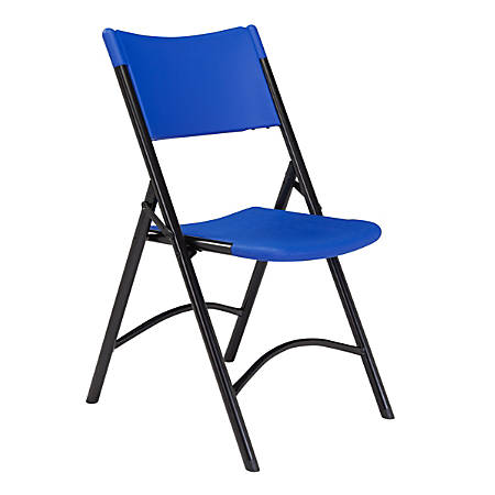 National Public Seating Series 600 Folding Chairs, Blue/Black, Pack Of 4 Chairs