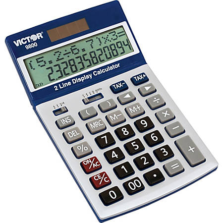 """Victor Easy Check Two-Line Calculator With Extra Large Display, 7.3"""" x 4.3"""" x 1.3"""", Blue/White"""