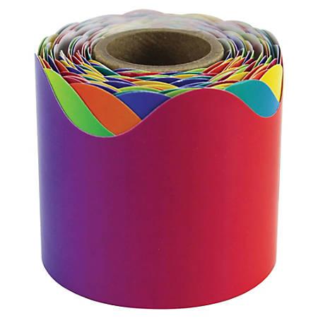 """Carson-Dellosa Rainbow Scalloped Border - Fun Theme/Subject (Scalloped Border) Shape - 2.25"""" Width x 432"""" Length - Multicolor - 1 Roll"""