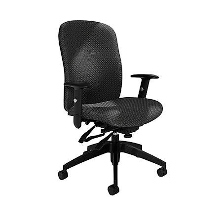 "Global® Heavy-Duty Truform Multi-Tilter Adjustable Chair, High-Back, 42""H x 26""W x 25""D, Graphite"