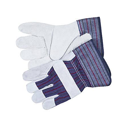 Memphis Split Leather Palm Gloves, Gray, Large
