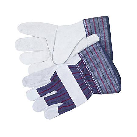 Memphis Split Leather Palm Gloves, Gray, Medium