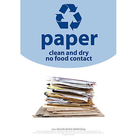 """Recycle Across America Paper Standardized Recycling Labels, P-1007, 10"""" x 7"""", Light Blue"""