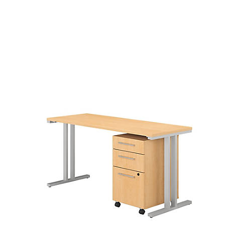 """Bush Business Furniture 400 Series Table Desk With 3 Drawer Mobile File Cabinet, 60""""W x 24""""D, Natural Maple, Premium Installation"""