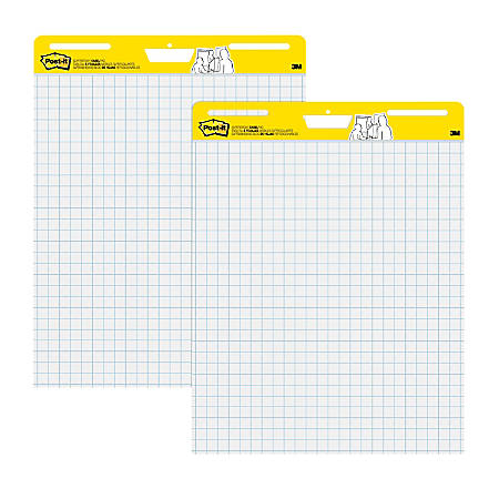 "Post-it® Super Sticky Easel Pads, 25"" x 30"", White, 1"" Grid Lined, 2 Pads Per Pack"