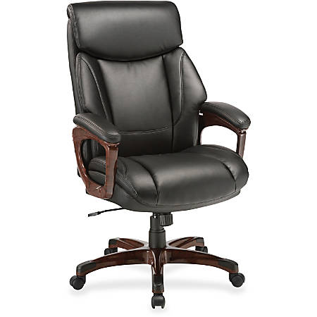 Lorell® Executive Soft Seat Bonded Leather Chair, Black/Mahogany