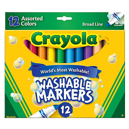 Crayola® Washable Markers, Broad Line, Assorted Classic Colors, Box Of 12