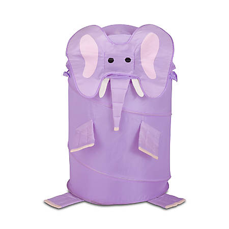 "Honey-Can-Do Animal Clothes Hamper, 30"", Purple Elephant"