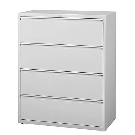 """WorkPro® 42""""W 4-Drawer Letter-/Legal-Size Metal Lateral File Cabinet, Light Gray"""
