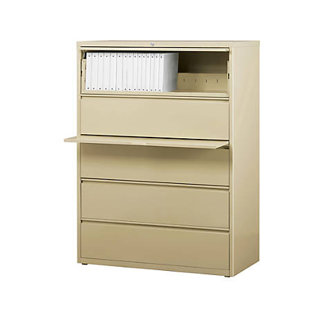 """WorkPro® 42""""W 5-Drawer Letter-/Legal-Size Metal Lateral File Cabinet, Putty"""