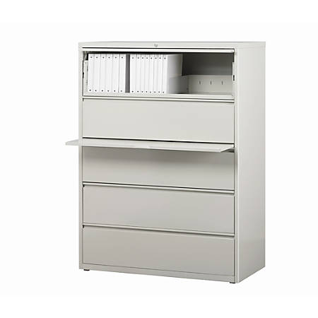 "WorkPro® 42""W Lateral 5-Drawer File Cabinet, Metal, Light Gray"