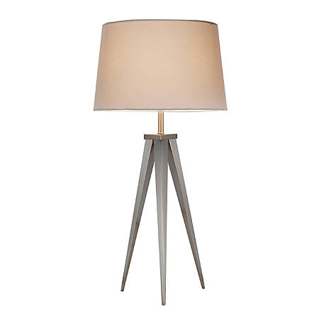 "Adesso® Producer Table Lamp, 28""H, Off-White Shade/Steel Base"