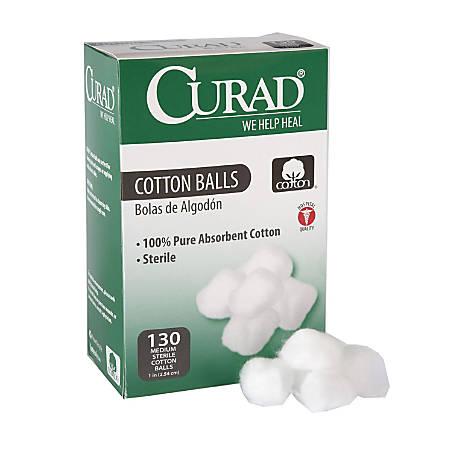 """CURAD® Sterile Cotton Balls, 1"""", 130 Cotton Balls Per Box, Case Of 24 Boxes"""