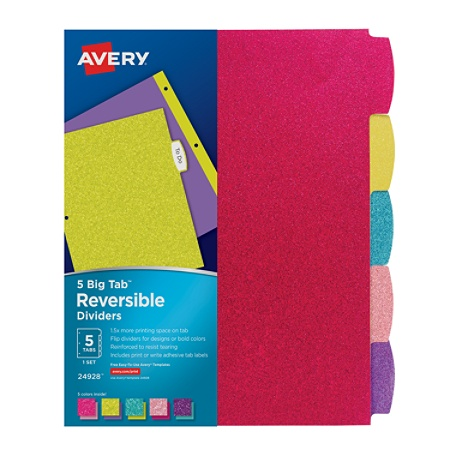 avery big tab reversible fashion dividers 8 12 x 11 assorted glitter